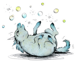 Verspieltes Einhorn freut sich über Seifenblasen