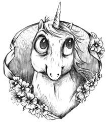 Schwarz Weiß Einhorn Portrait Zeichnung im Tattoo Stil