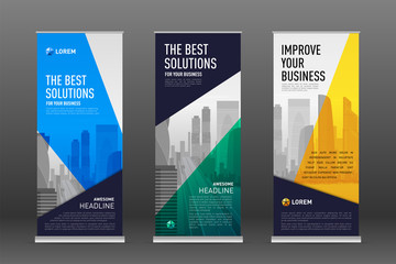 Construction roll up banner design templates set