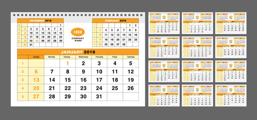 Calendar template for 2019 years. Set of 12 calendar pages vector design print template with place for your logo. Simple orange background. Week starts on Sunday