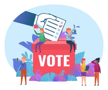 Small people standing near big voting box. Vote, election campaign, agitate. Flat design vector illustration