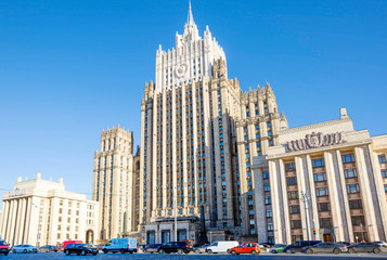 """Moscow. The building of the foreign Ministry. The building of the Ministry of foreign Affairs is one of the seven buildings included in the list of """"Stalin skyscrapers""""."""