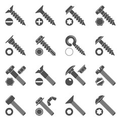 Black Icons - Screws & Bolts