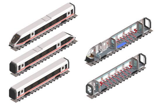 Isometric train scheme interior of passenger seats. Isolated vector modern fast train.