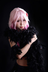 Portrait of Japan anime cosplay woman , black japanese cosplay in black studio