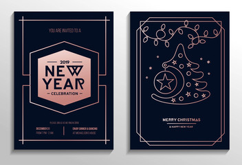 New Year party invitation cards set with rose gold geometric design and navy blue background.