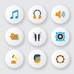 Audio icons flat style set with voice, listen, bullhorn and other audio