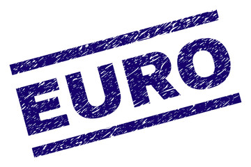 EURO seal print with scratced style. Blue vector rubber print of EURO tag with unclean texture. Text label is placed between parallel lines.