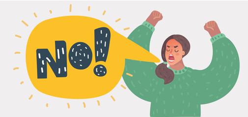Angry woman rising hands and screaming NO! Wall mural