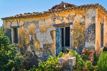 abandoned old farmer cottage in Greece