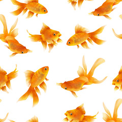 Bright swimming gold fishes seamless pattern on white background