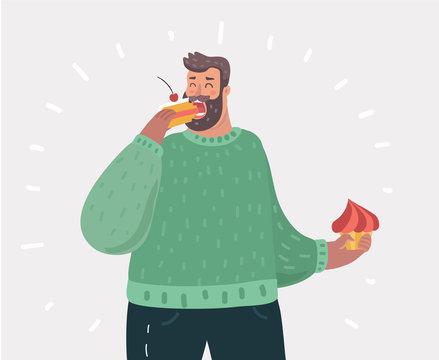 Happy fat man eating cake.