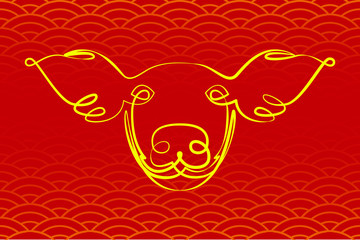 Pig Face. Linear line style. Endless line. Yellow and red. Logo, sign, icon. Vector illustration. Chinese New Year Symbol of 2019. Chinese style background pattern.