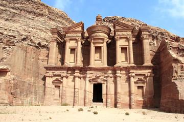 Facade of ancient monastery Ad Deir in Petra, Jordan