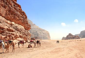Poster de jardin Desert de sable Jeep safari in Wadi Rum desert, Jordan