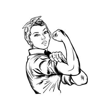 Rosie the riveter vector illustration - International women's day