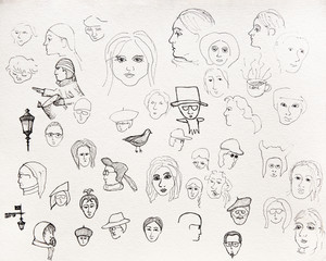 Pen painted portraits on the paper