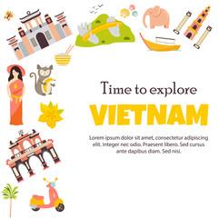 Vietnam Landmarks set Architecture Famous Place