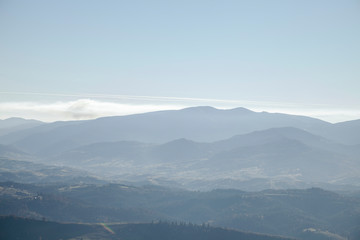 hazy mountains landscape, Carpathians, Ukraine
