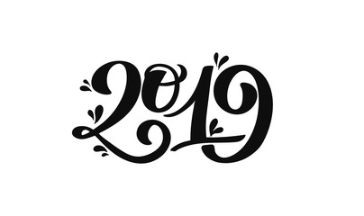 2019 hand drawn number inscription for new year and christmas congratulation, holiday poster, calendar design, celebration invitation, promo banner. Cute ink brush typography, numeric design, figures
