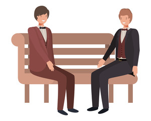 businessmen sitting in park chair avatar character