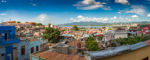 Panoramic city view of Santiago de Cuba