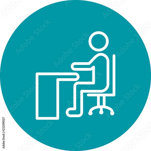 Sitting On Desk Education Line Circle Icon Stock Image And Royalty