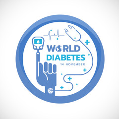 World Diabetes Day banner with Blood Sugar Test to finger hand and stethoscope sign in Blue circle  vector design