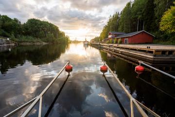 Finland, Kajaani, Mooring area in a river