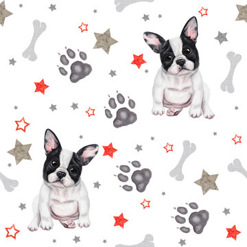 Seamless pattern with cute french bulldog puppies. Hand drawn watercolor