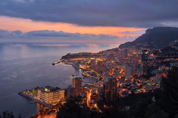 Monaco, Monte Carlo, view to lightes city at dusk