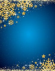 Blue christmas background with frame of gold glittering snowflakes, vector illustration