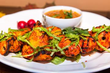 Chicken Spicy Tikka.Chicken Tikka indian food recipe with spices.