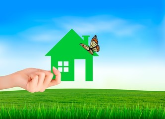 Creative Template Design for Real Estate. Hand holding a paper house with butterfly. Vector illustration.