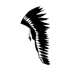 American Warbonnet Silhouette for Laser Cutting or Craft. Eagle Feather hat fashion accessory. Native Indian Headdress. Thanksgiving and Halloween Isolated Vector Costume Illustration.