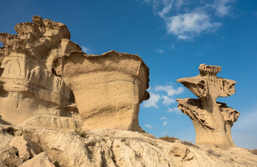 View of the rock formations Erosions of Bolnuevo (