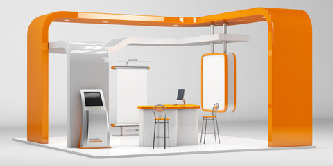 3d Illustrated unique creative exhibition stand display design with table and chair, info board, roll up.