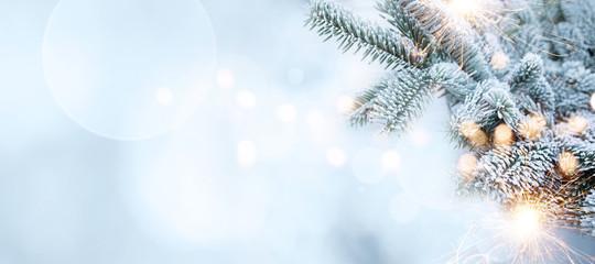 Christmas tree in frosty winter