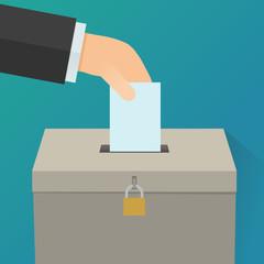 Déposer un bulletin de vote dans une urne (Flat design)