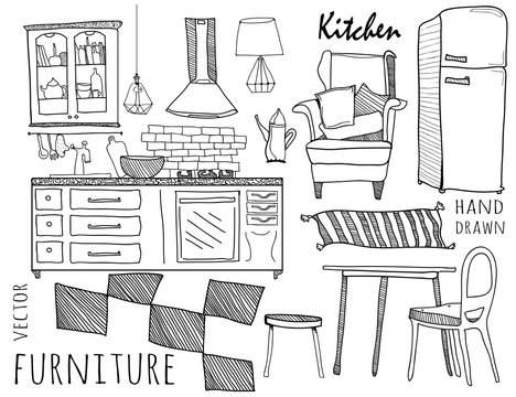 Hand drawn kitchen furniture. Graphic vector collection