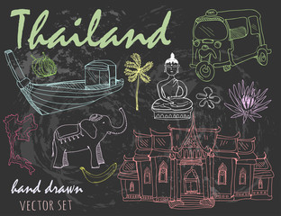 Hand drawn colored Thailand elements. Chalk style graphic vector set. Black background