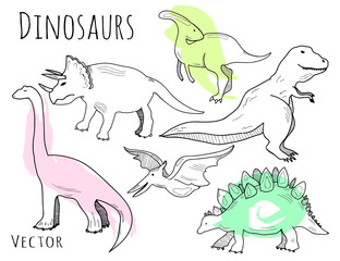 Hand drawn dinosaurs. Graphic vector set