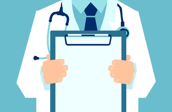 Vector of a doctor with lab coat holding a clipboard showing a blank document.