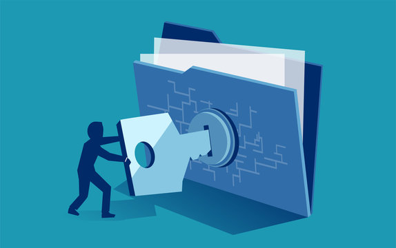 Cyber security digital file protection. Vector of man using security key to access digital file