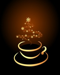 cup of coffeeor tea on black background with copy space for your text