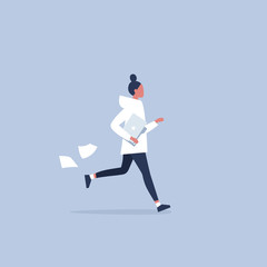 Young female character being late for a meeting. Office morning routine. Millennials at work. Flat editable vector illustration, clip art