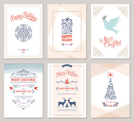 Elegant vertical winter holidays greeting cards with New Year tree, dove, reindeers, gift box, snowflake, Christmas ornaments and ornate typographic design.