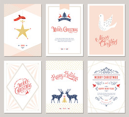 Elegant vertical winter holidays greeting cards with New Year tree, dove, reindeers, Christmas ornaments and ornate typographic design.