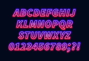 Blue red gradient neon alphabet on a dark background . Bright font for decoration.Capital letter.