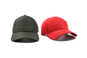 Black and red fashion and baseball cap isolated on white background.